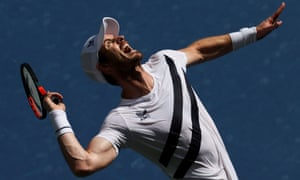 Andy Murray serves the ball.