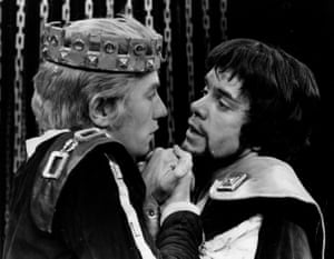 1970 McKellen, left, with James Laurenson in a love scene between Edward II and Gaveston during a dress rehearsal of Marlowe's Edward II at London's Piccadilly theatre