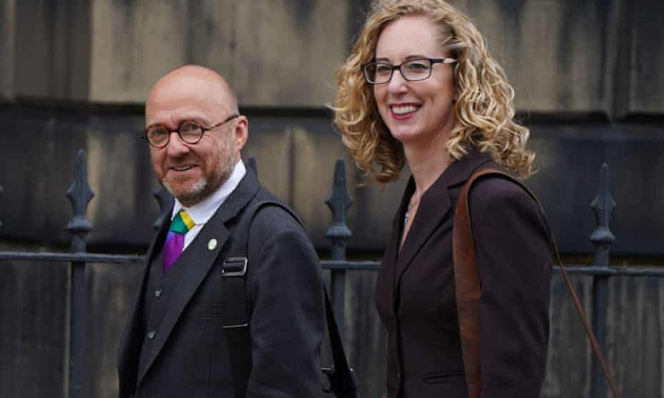 The Scottish Green party's co-leaders, Patrick Harvie and Lorna Slater, arriving at Bute House, Edinburgh
