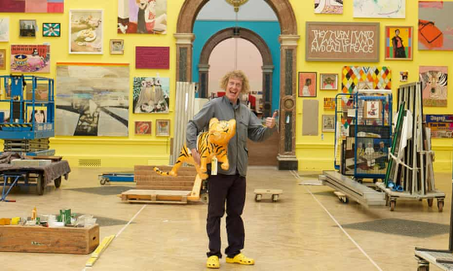 Grayson Perry at work in his sunshine yellow main gallery for the Royal Academy's 2018 Summer Exhibition.