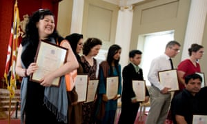 A citizenship ceremony at the Banqueting House, Whitehall, London.