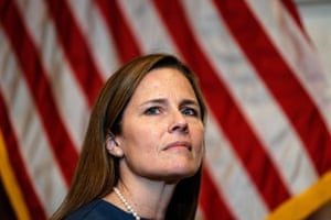 Amy Coney Barrett in Washington last month. Some ex-members who spoke to the Guardian said they were deeply concerned that too little was understood about of People of Praise.