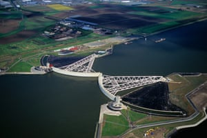 The Maeslant storm surge barrier, designed to combat rising sea levels in Rotterdam
