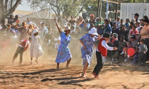 Kicking up a storm … the Nama Riel dance goes back to the days of the Bushmen