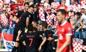 Croatia celebrate their second goal against Wales.