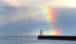 Tynemouth, UKA rainbow over Tynemouth lighthouse in Northumberland