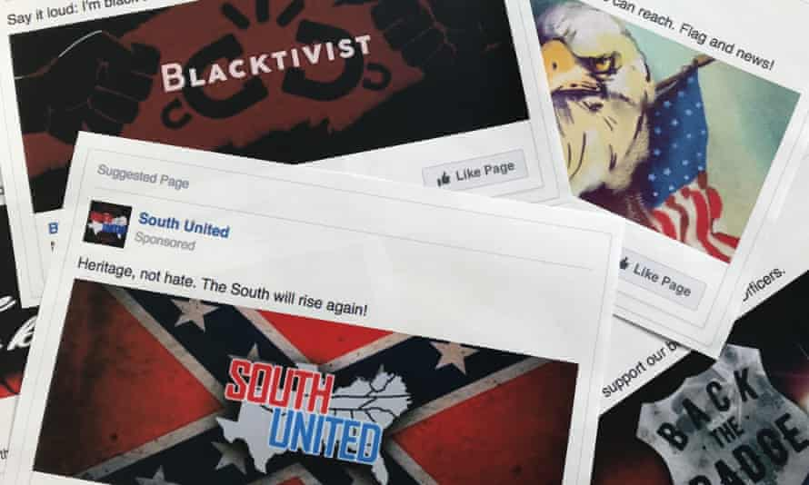 A selection of the Facebook ads linked to a Russian effort to disrupt the US presidential election.