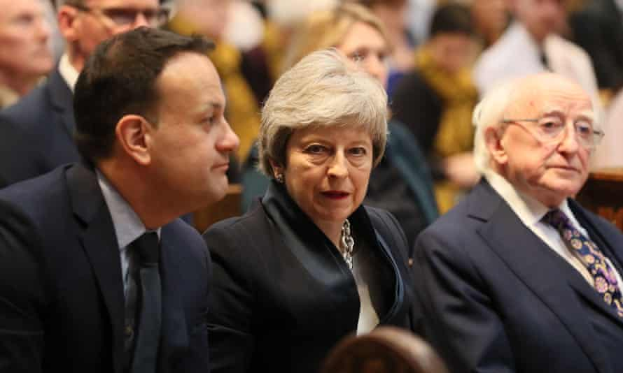 Leo Varadkar, Theresa May and Irish president Michael D Higgins.