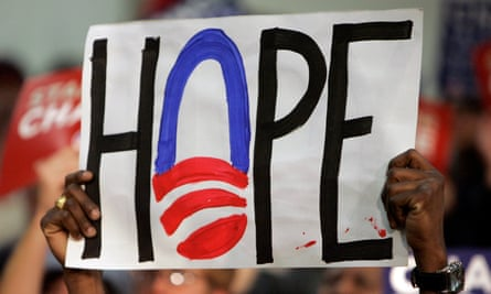 A supporter holds up a sign in support of Senator Barack Obama in Concord, New Hampshire, in 2008.