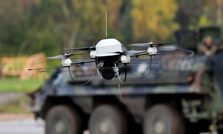 A ' Mikado' German forces drone in Munster. It is feared 'drone swarms' fitted them with small explosives and self-driving technology will be used to carry out untraceable assassinations in the future.