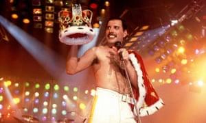 Freddie Mercury on stage in Stockholm, Sweden, in 1985