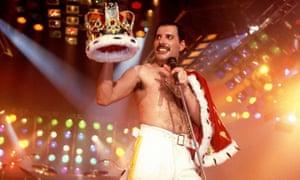 Freddie Mercury … On stage in Stockholm in 1985.