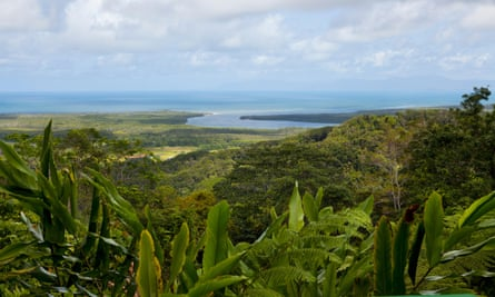 Mount Alexandra lookout with a view of the Daintree River mouth in north Queensland.