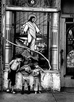 Broken Christ With Children, Coney Island, 1950