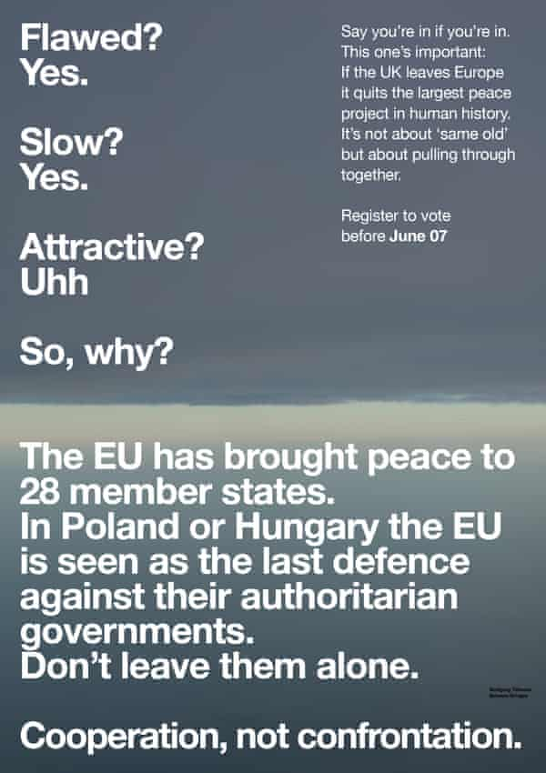A poster from Wolfgang Tillmans's EU campaign.