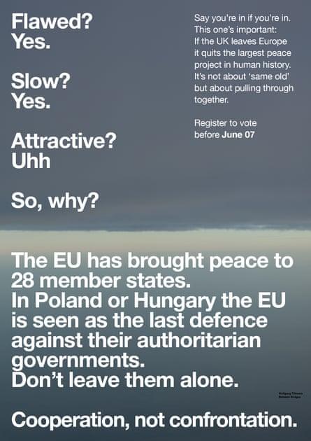Not without flaws ... Tillmans's EU campaign
