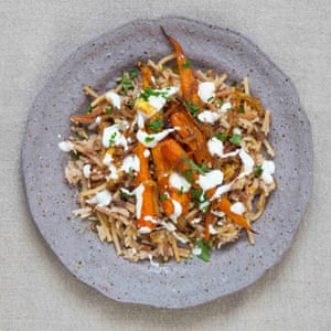 Claire Thomson's koshari rice with roasted spiced carrots and onions.