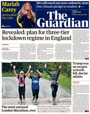 Guardian front page, Monday 5 October 2020
