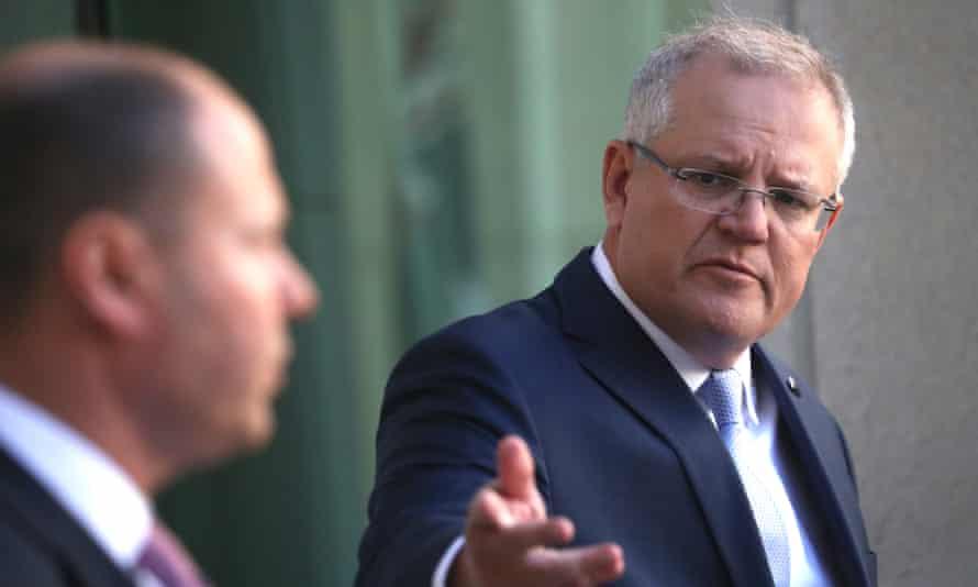 Australian prime minister Scott Morrison and treasurer Josh Frydenberg at a press conference in Canberra
