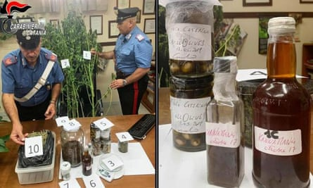 Police in Italy show food and plants linked to the cannabis arrest of Sicilian TV chef Carmelo Chiaramonte.