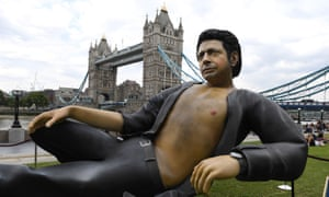 Statue of US actor Jeff Goldblum in London
