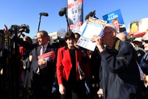 Bill Shorten and the Labor candidate for Higgins Fiona McLeod arrive at Carnegie primary school in Melbourne.