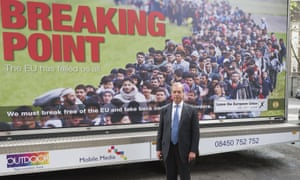 Nigel Farage with Ukip's 'Breaking Point' poster.
