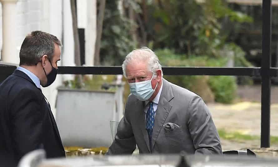 Prince Charles arriving at King Edward VII's hospital