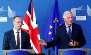 The Brexit secretary, Dominic Raab, with the chief EU negotiator, Michel Barnier