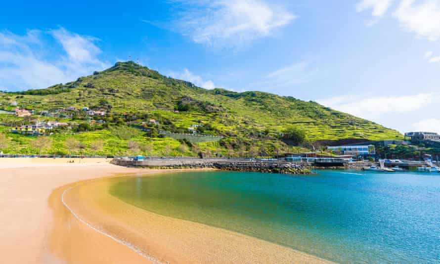 Beach on Machico bay, Madeira.