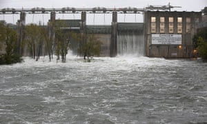 The Lower Colorado River Authority opened floodgates at Tom Miller Dam to relieve possible flooding on Lake Austin Saturday, in Austin, Texas.