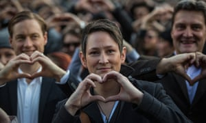 Christy Hackney-Westmore attends a rally in Melbourne to lobby for marriage equality and for a free vote on the issue in the federal parliament.