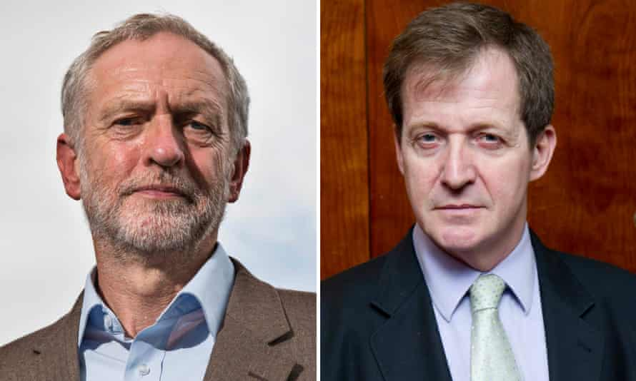 Composite of Jeremy Corbyn and Alastair Campbell