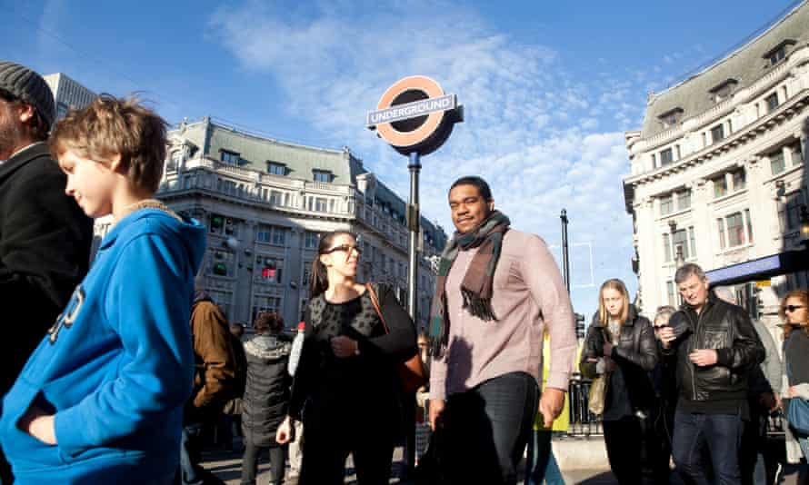 Oxford Street January sale shoppers, photographed outside the underground station on 28 December 2015, London