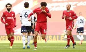 Trent Alexander-Arnold of Liverpool celebrates the winning goal.