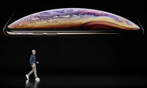 Tim Cook speaks about the Apple iPhone XS at the Steve Jobs Theater.