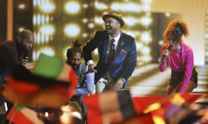 Guy Sebastian performs Tonight Again during the final of the Eurovision song contest in Vienna.
