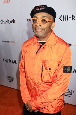 Spike Lee in a Stone Island jacket at the premiere of sex-strike comic drama Chi-Raq, which he directed.
