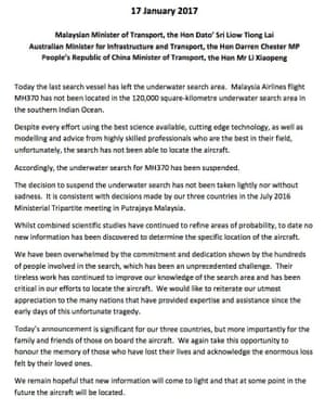 Statement on the suspension of the search for MH370