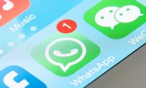 WhatApp on screen