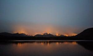 Backburning operations in the Hawkesbury region, near Spencer, seen from Marlow last night, NSW, Australia. 9 December 2019.