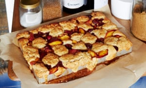 Nectarine and cherry top‑and‑bottom cobbler