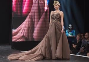Former professional tennis player Tatiana Golovin presents a chocolate studded dress
