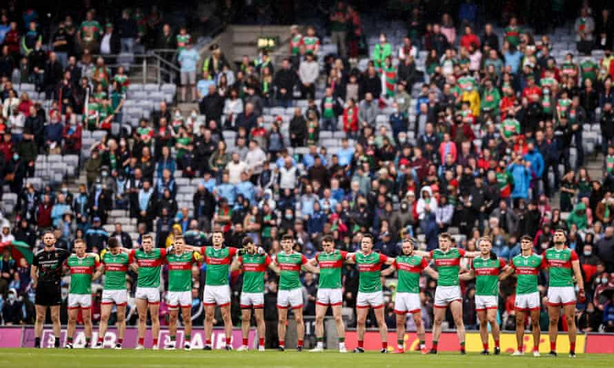 The                       Mayo team at the All-Ireland semi-final in Croke                       Park on14 August 2021.