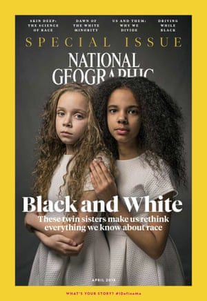 The cover of the April 2018 issue of National Geographic magazine, a single topic issue on the subject of race.