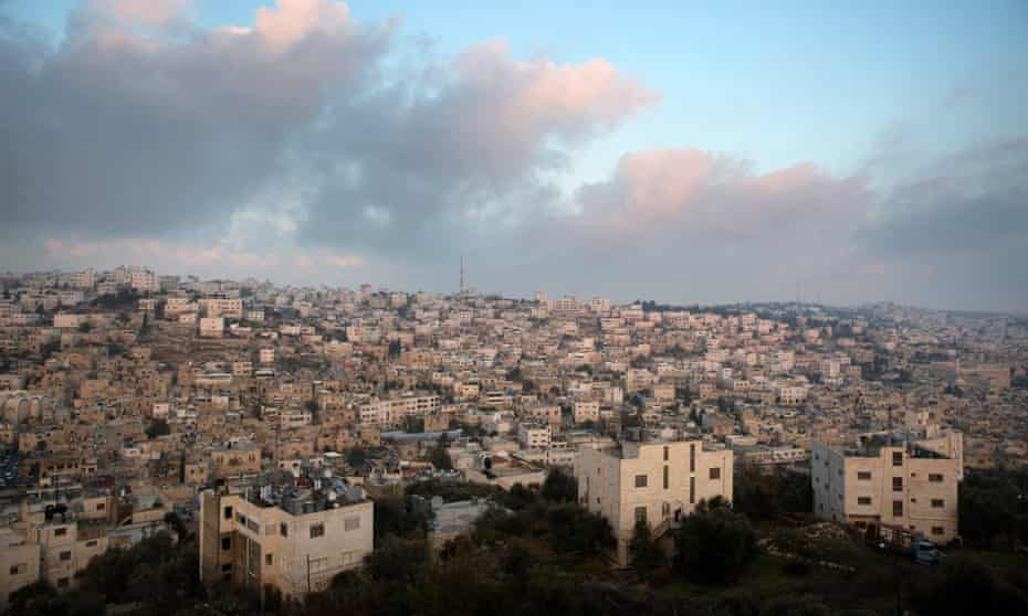 The city of Hebron seen from the Jewish settlement of Tel Rumeida in the centre of Hebron's old city.