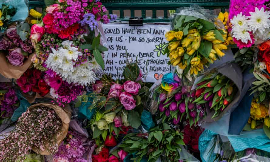 Floral tributes to Sarah Everard at a bandstand in Clapham Common, London