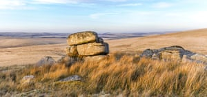 The image depicts Fox Tor as sunset with the eastern edge of Fox Tor Mires on the left of the frame.