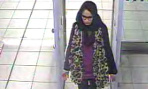 Shamima Begum pictured going through security at Gatwick airport in 2015