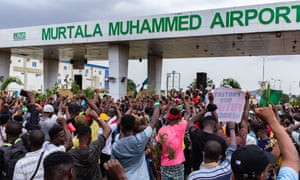 A one-minute silence on Monday among the crowds near Murtala Muhammed airport, Lagos, to remember 'lives lost to police brutality'.